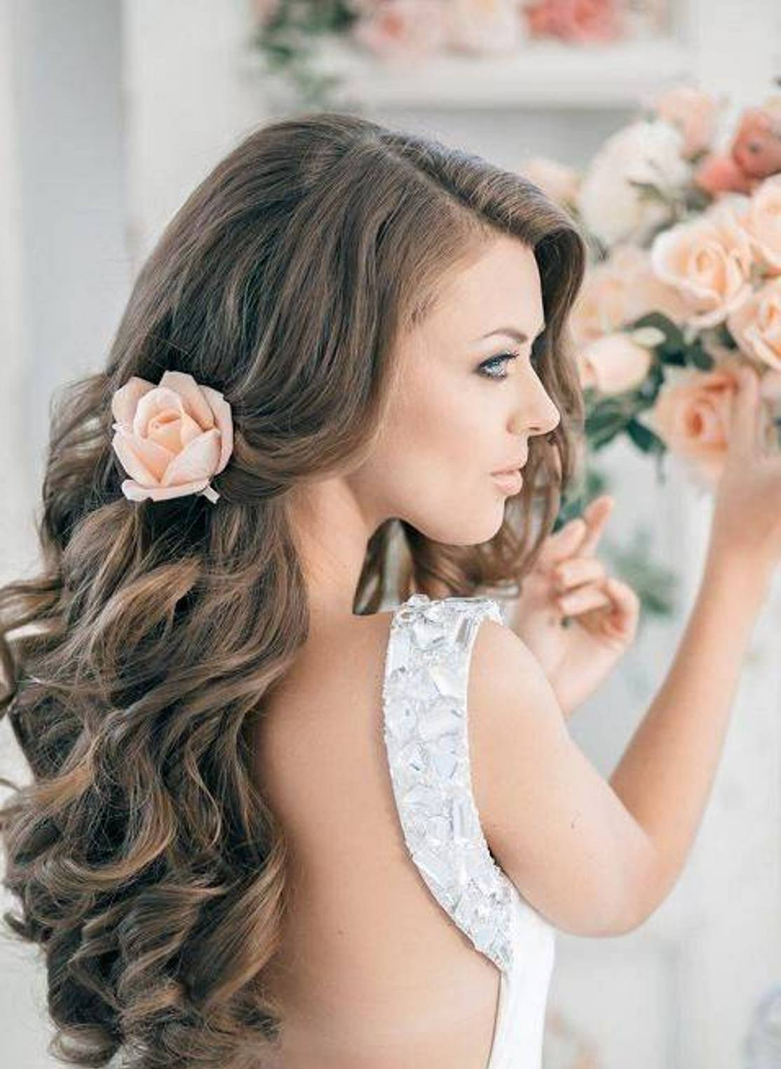 long hair down wedding styles bridal hairstyles sirmione wedding 1296 | 25 Curly Hair Wedding Hairstyles 25
