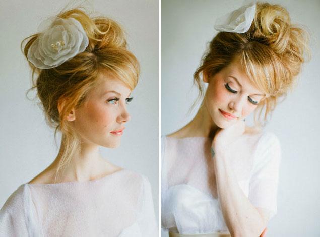 Cute messy bridal hairdo