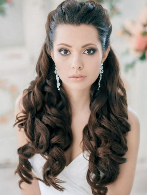 Half up full curls hairstyle to complement your dress