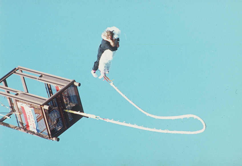 Bungee jumping wedding; photo source: huffingtongpost.com AP Photo/Don Slabicki