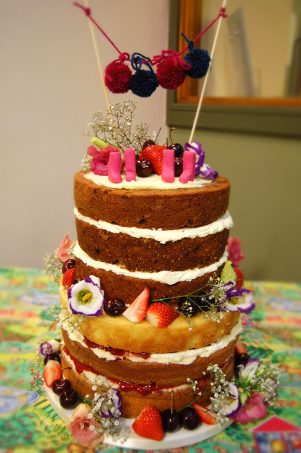 Although naked, the cake can endure some decorations